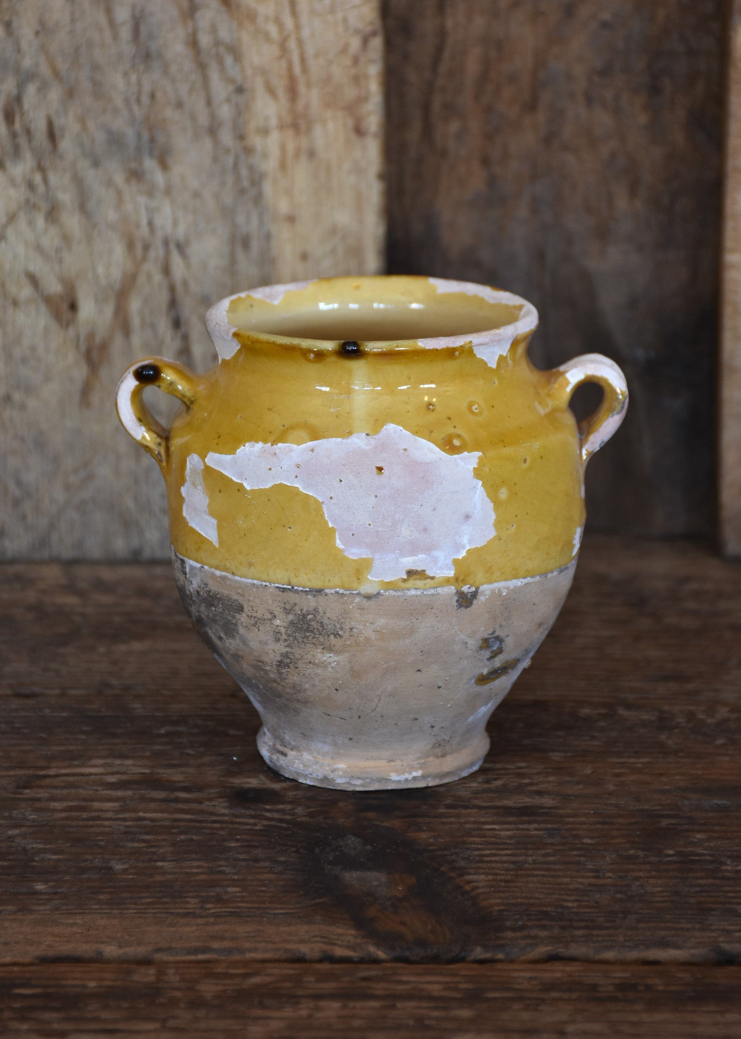 Small 19th century French confit pot with ochre glaze – 5½""