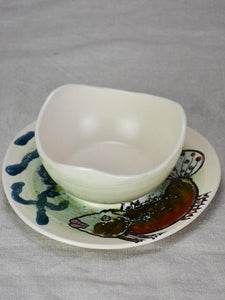 Vintage French hand painted fish service bowl 7½""
