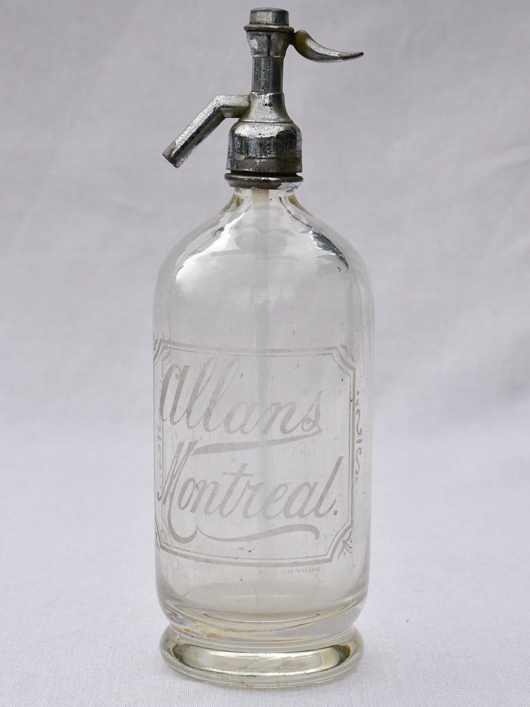 Clear early twentieth century seltzer siphon - Allans Montreal