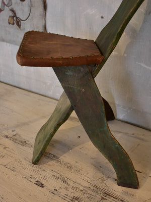 Small rustic French escabelle chair with leather seat
