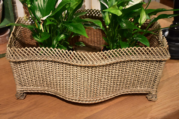 Antique French flower pot stand - wicker