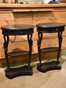 Pair of vintage French oval nightstands with black finish