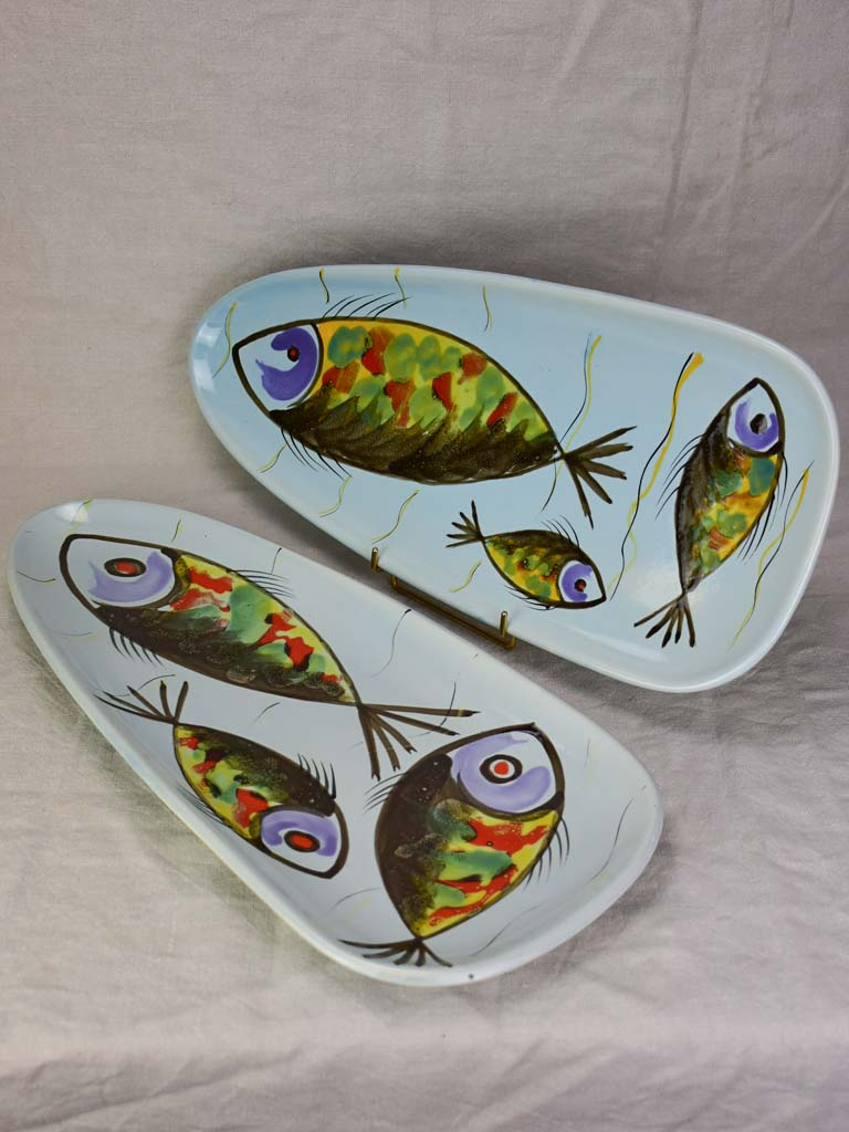 Two 1950's French hand-painted fish platters  (Pornic)