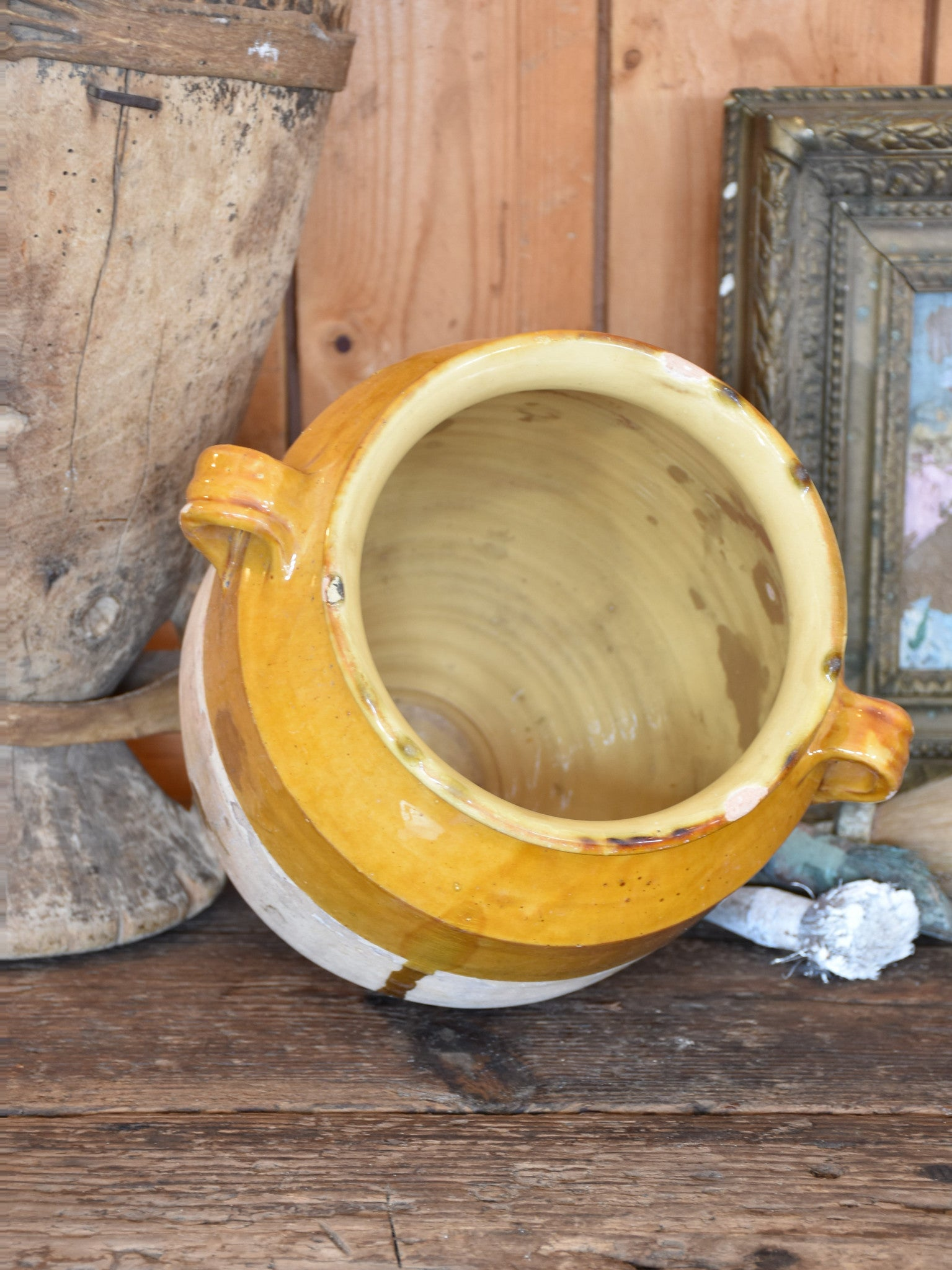 Large late 19th century French confit pot with ochre glaze – 12½""