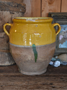 "Large late 19th century French confit pot with ochre glaze & green  - 13¾""?"