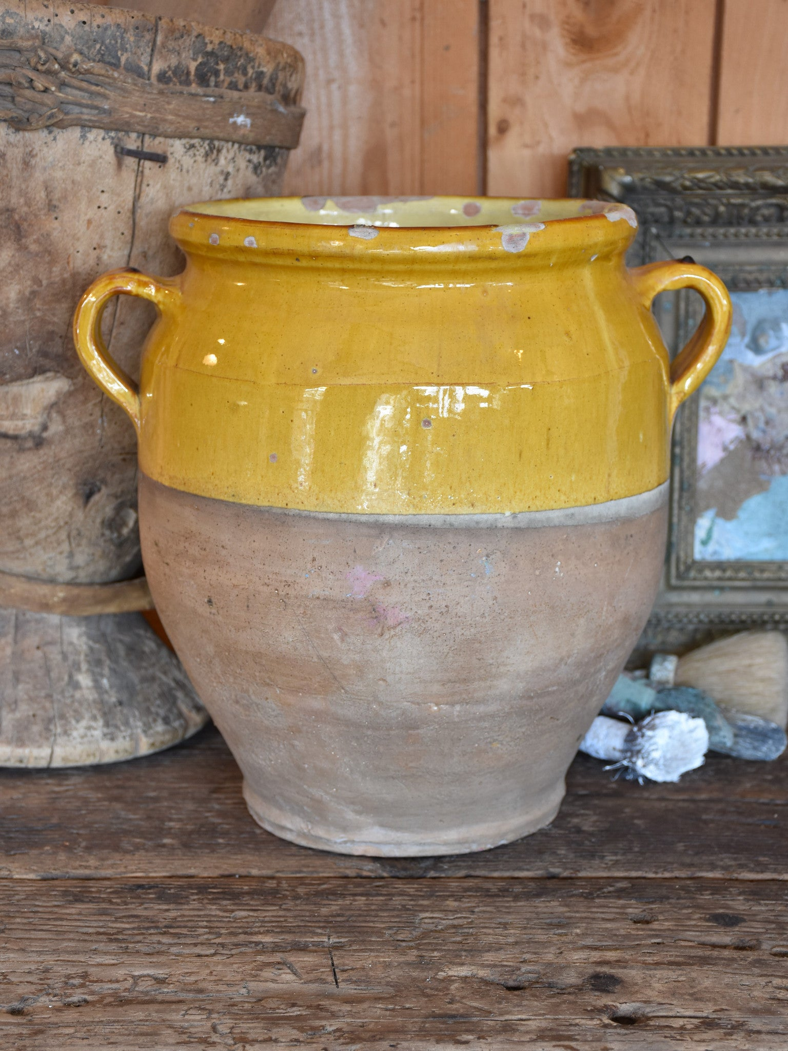Large late 19th century French confit pot with ochre glaze & green  – 13¾""