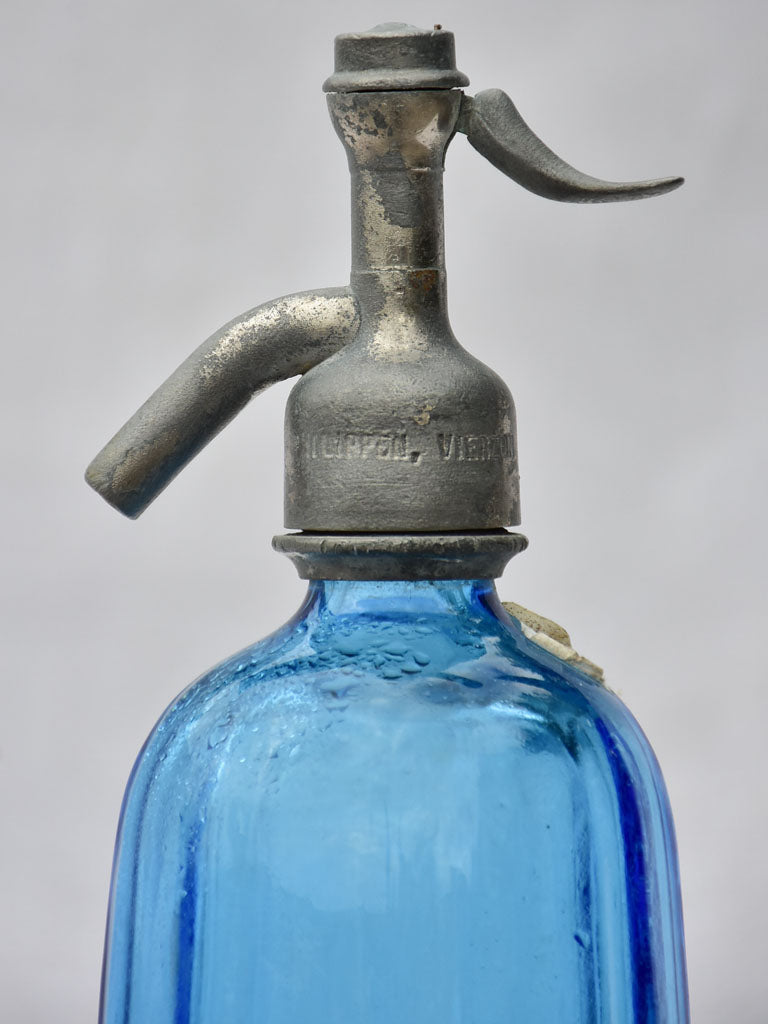 Blue fluted early twentieth century seltzer siphon - Polesny