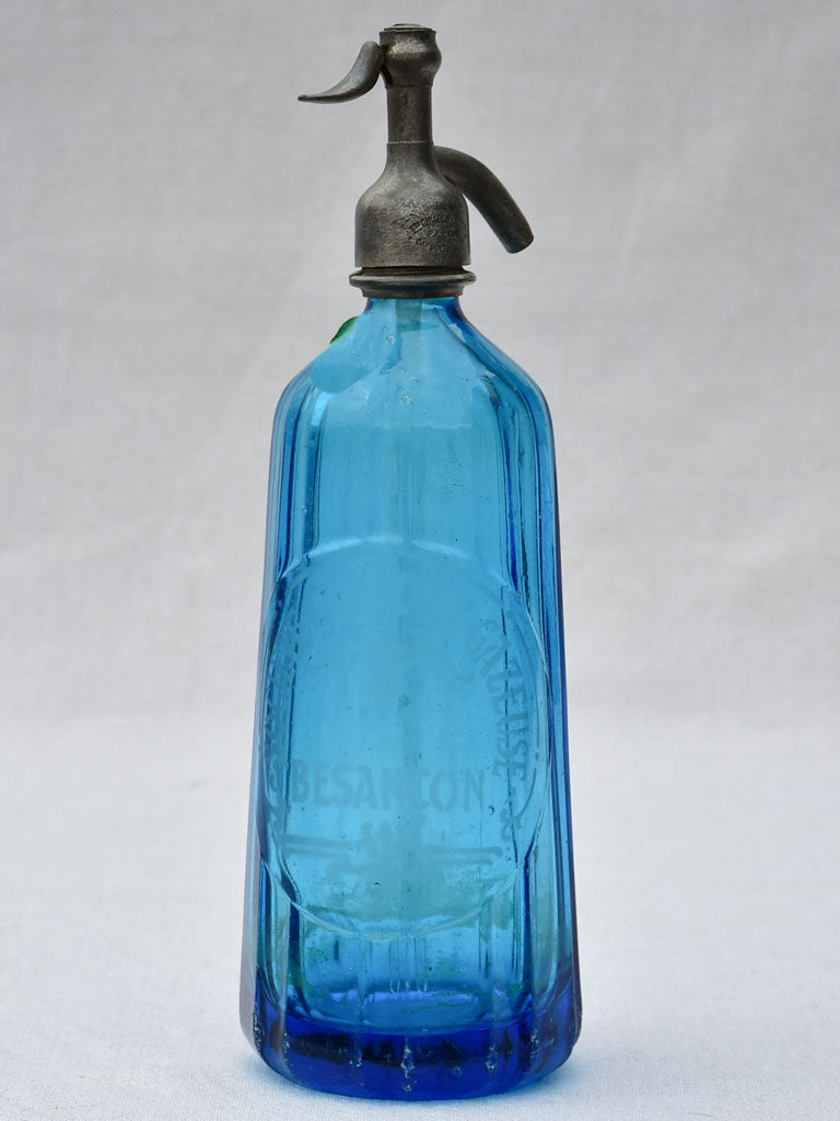 Blue fluted early twentieth century seltzer siphon - Comtoise gazeuse