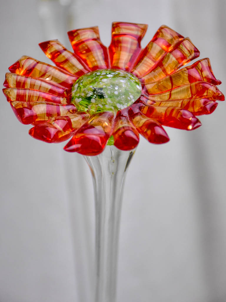 Collection of six 1960's Murano glass flowers 20""