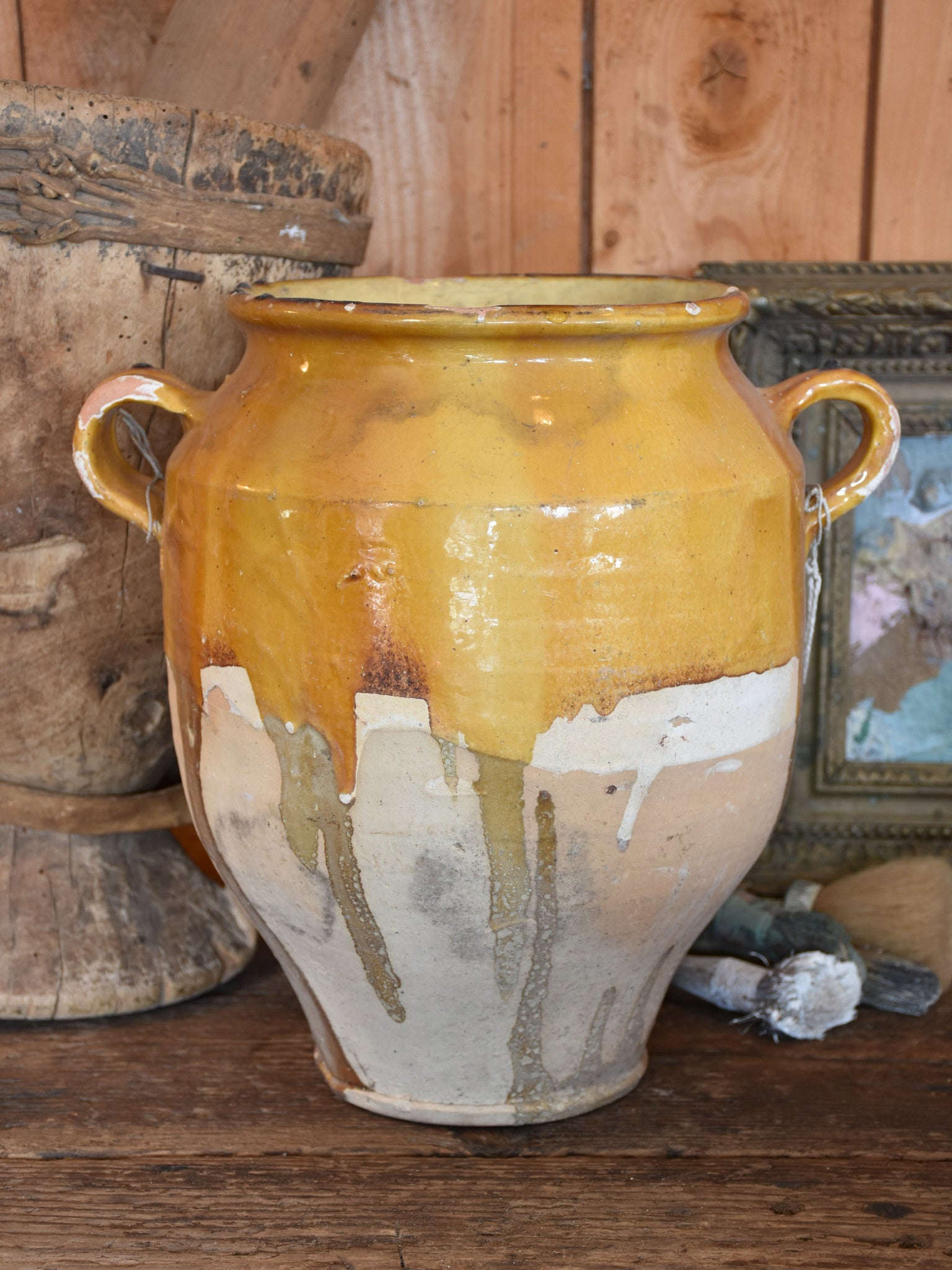 "Large late 19th century French confit pot with ochre glaze - 14½""?"