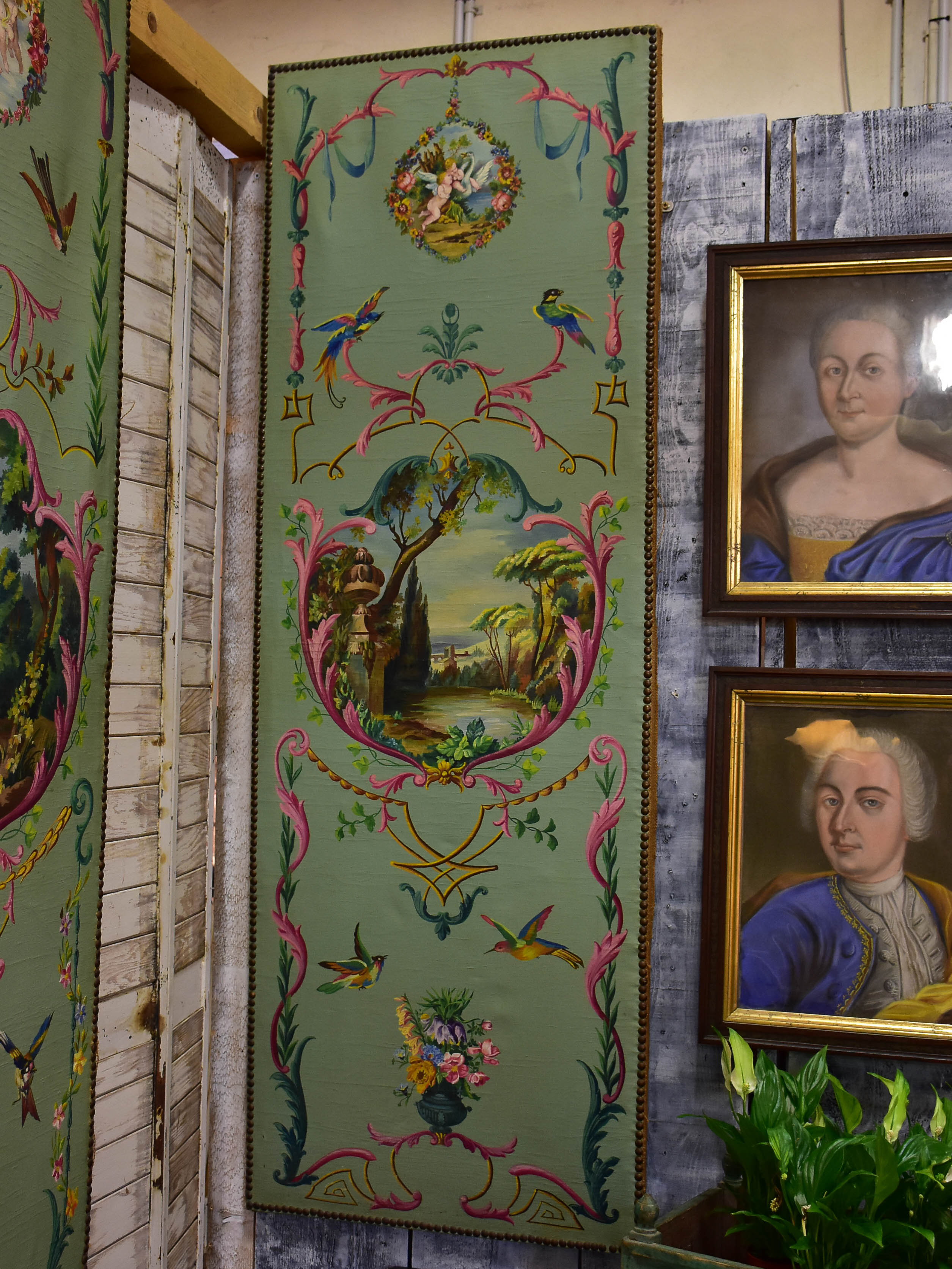 Antique French Triptych - oil on canvas