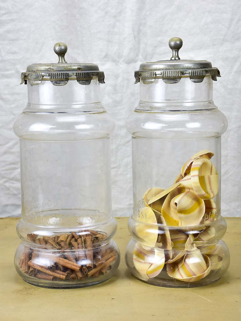 Pair of large glass jars with lids - 1950's