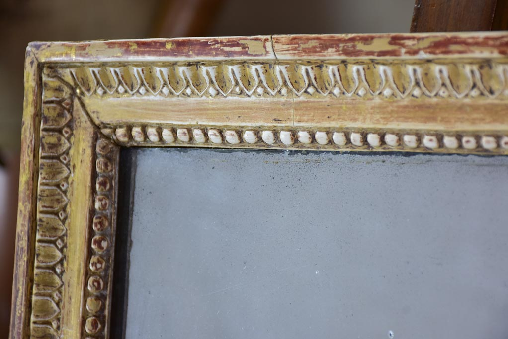 "Very pretty Louis XVI rectangular mirror with beige / gold frame 22¾"" x 30¾"""