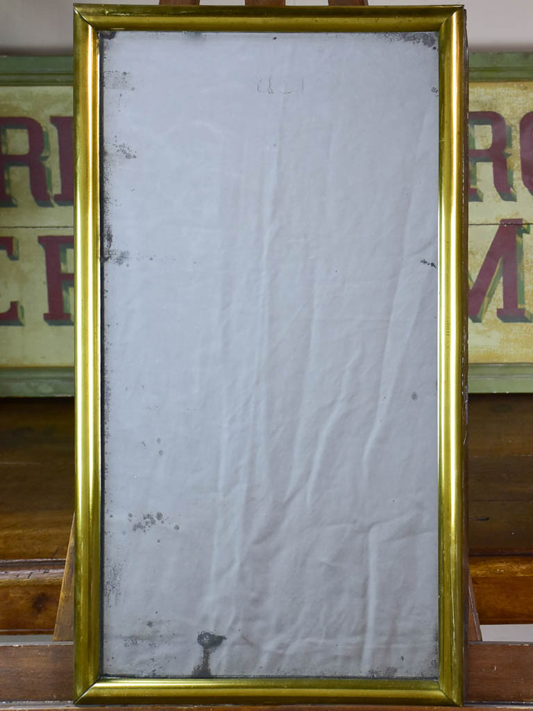 "Antique French bistro mirror with brass frame and original glass 30"" x 17"""