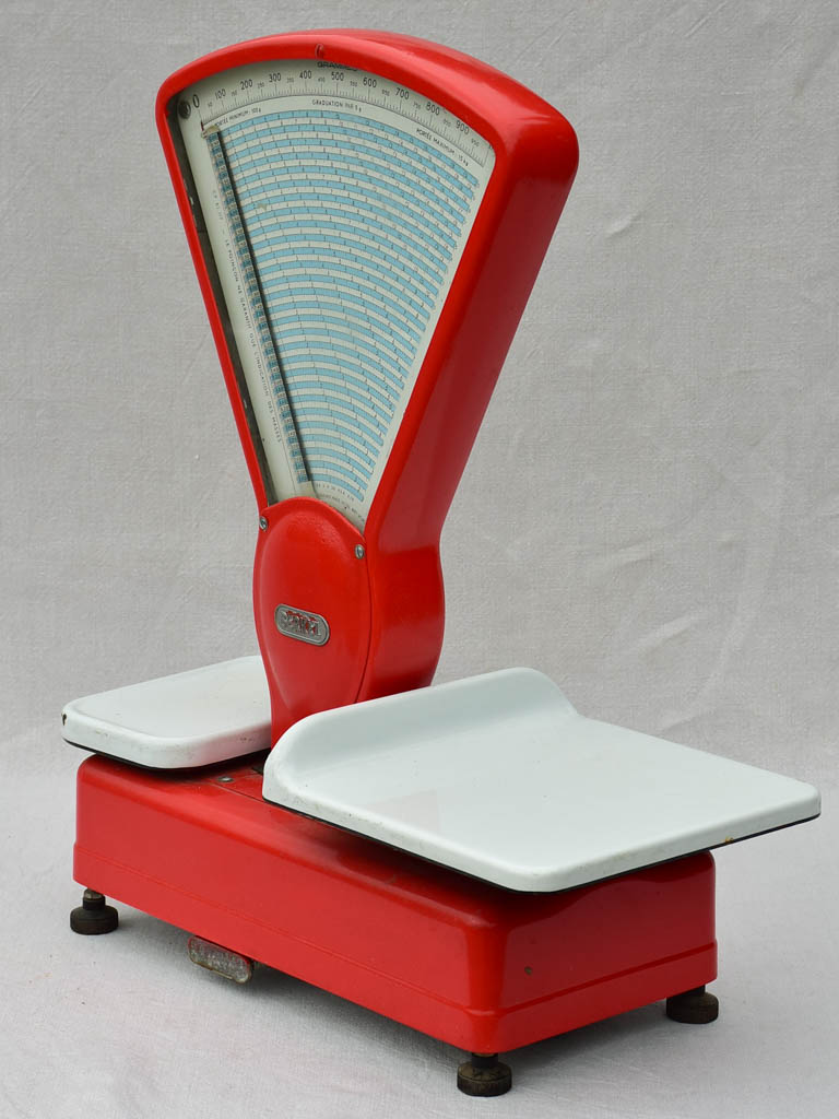 Berkel butcher's shop scales from the 1950's - red