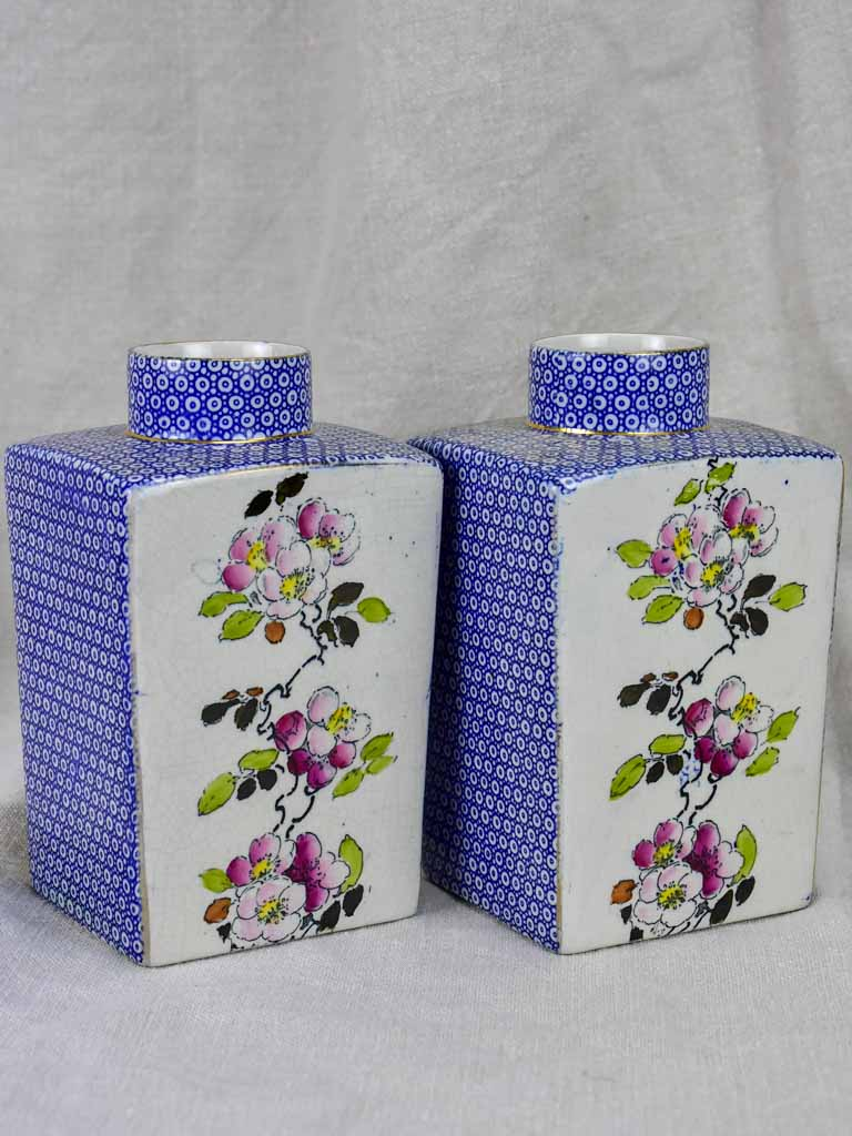 Pair of English jars / vases - blossom and blue pattern
