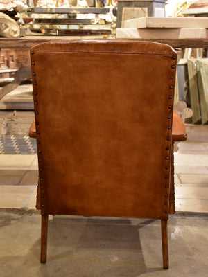 1960's mid century modern French leather armchair