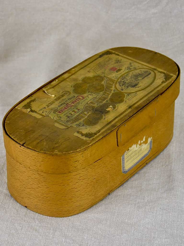 "Antique oval box - madelines and macarons 14¼"" x 5½"""