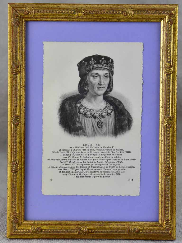 Collection of nine framed engravings of notable French historical figures