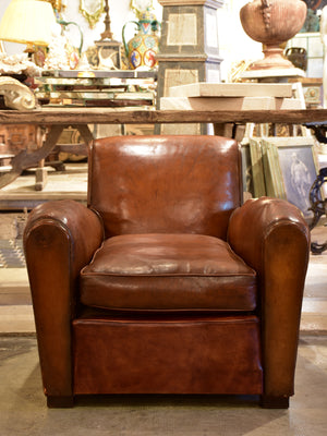 French vintage leather club chair - 1950's