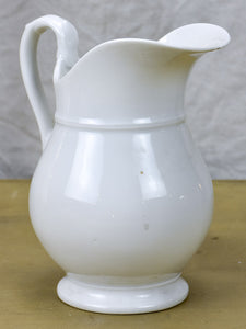 Vintage French faience white water pitcher