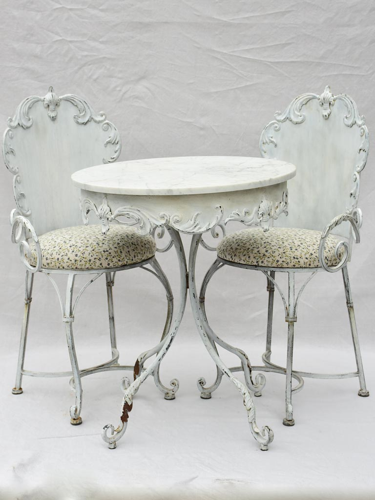 Pair of mid-century French garden armchairs and marble table - outdoor setting