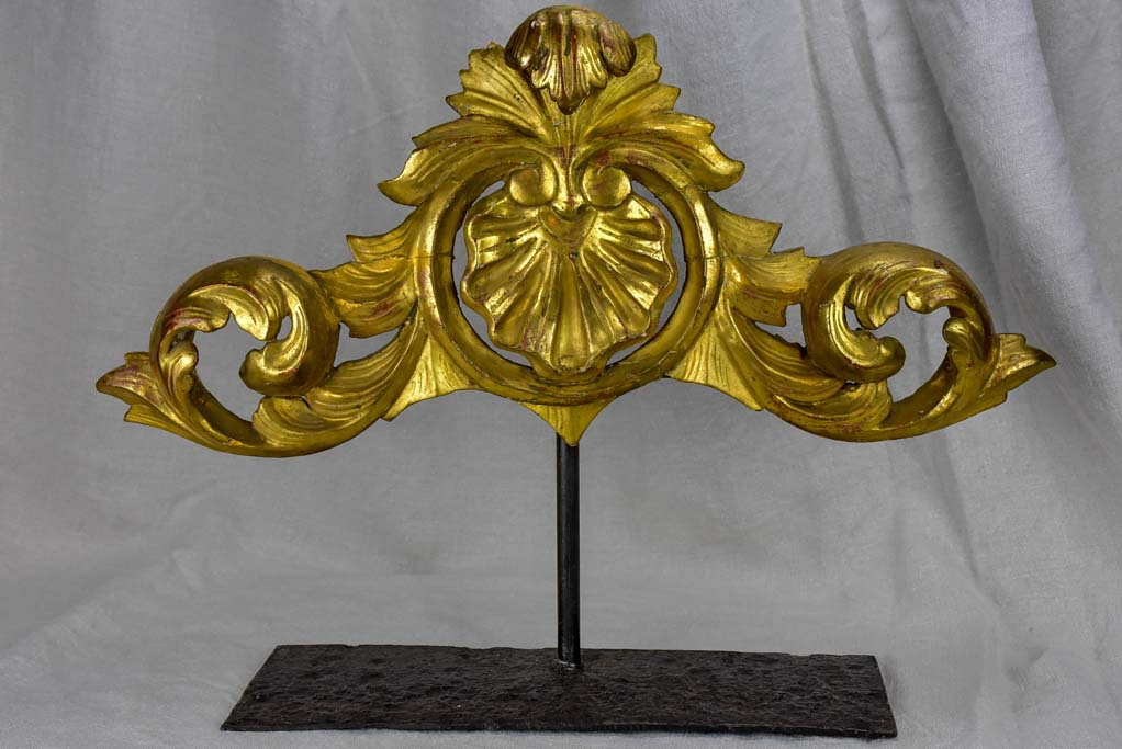 Salvaged gilded boiserie mounted on a stand