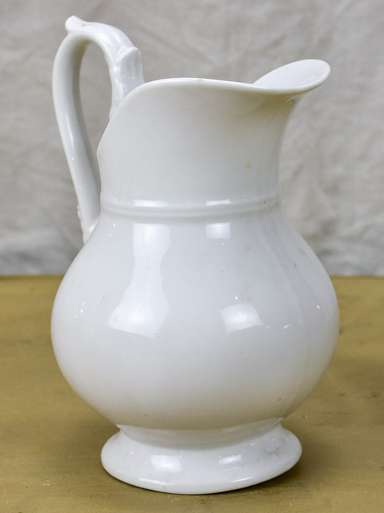 Vintage French faience white water pitcher - Empire style