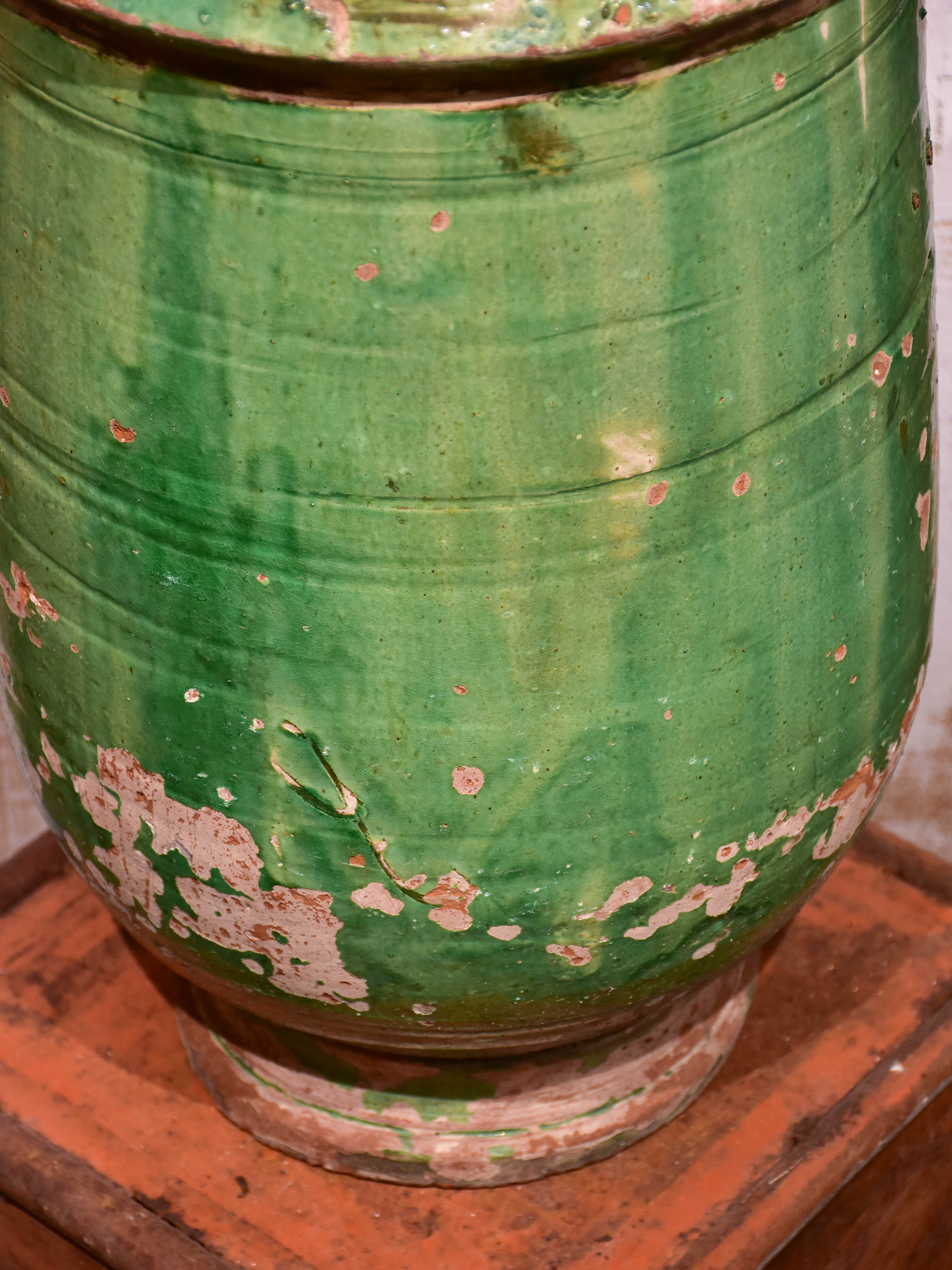 Antique French garden planter from Anduze with green glaze