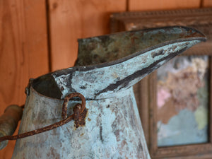 Late 19th century French watering can – copper with aqua patina