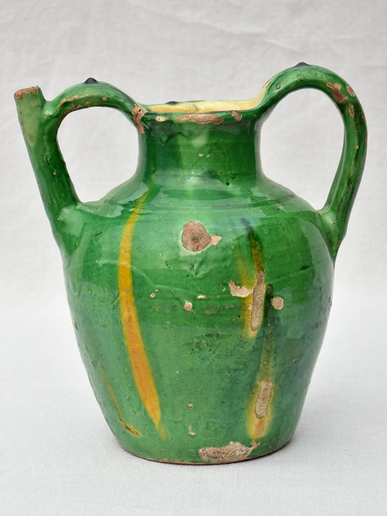 19th Century French water cruche with green and yellow glaze 12¼""