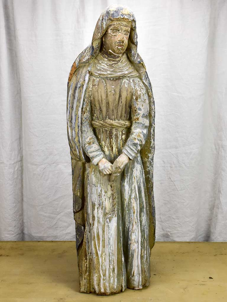 17th Century religious French sculpture of a nun