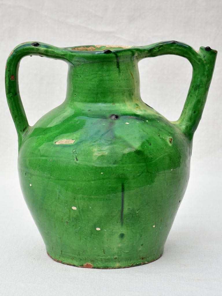 19th Century French water cruche with green glaze 12½""