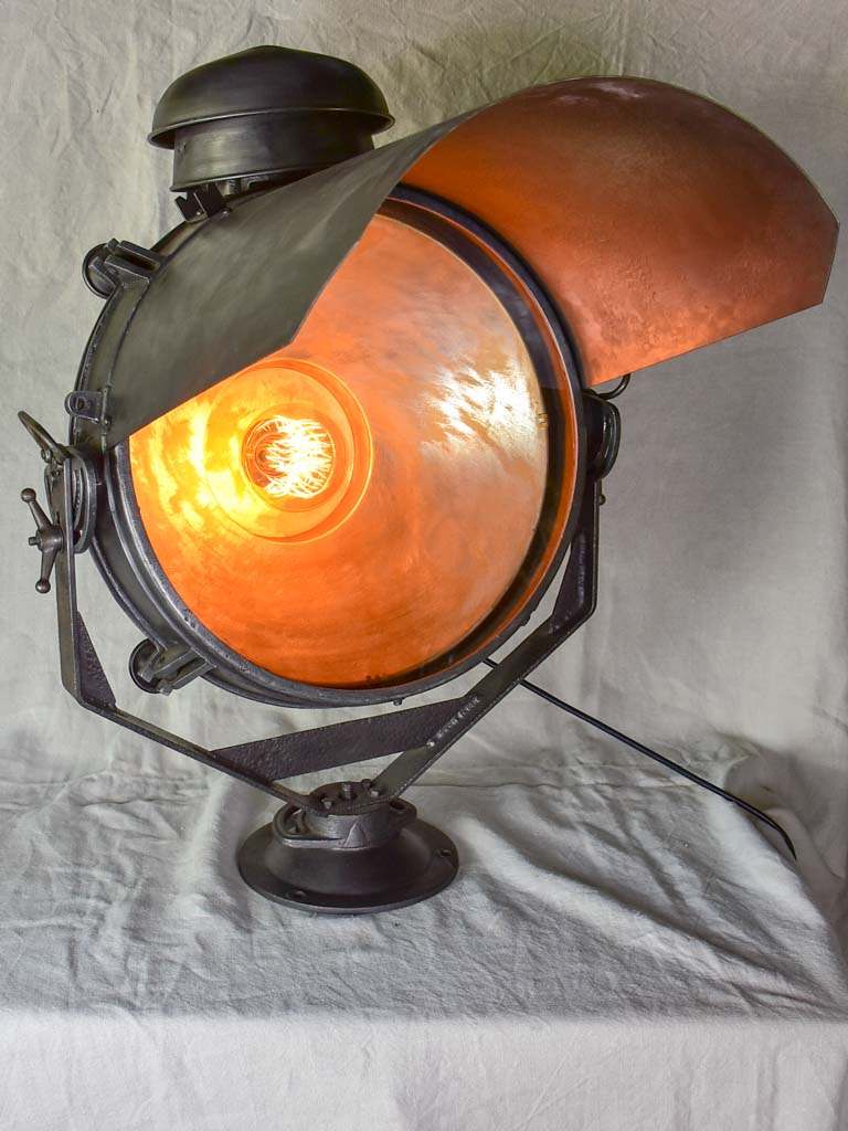 Restored French 1940's SNCF train light projector - very large