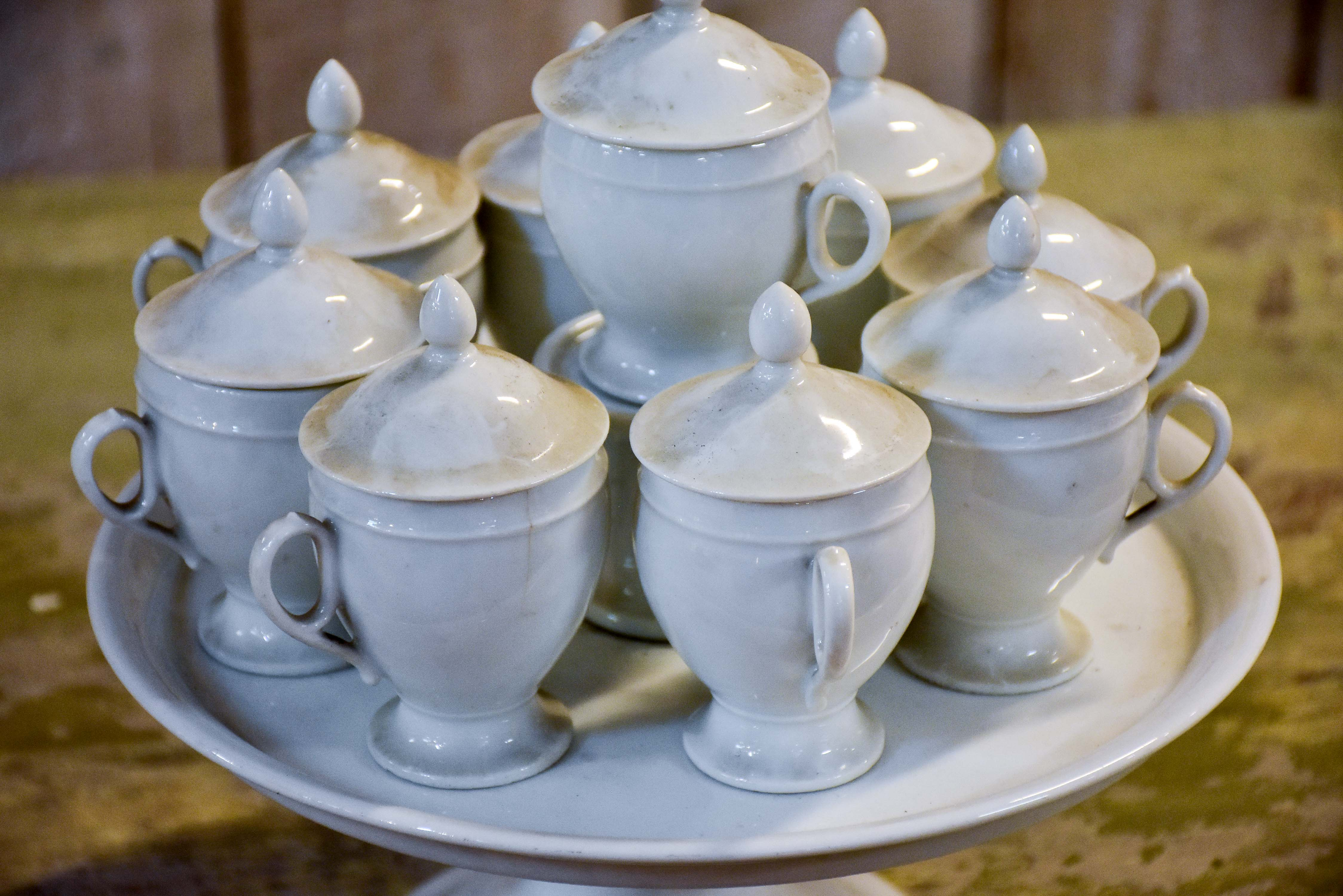 Antique French stoneware - cream pots with lids