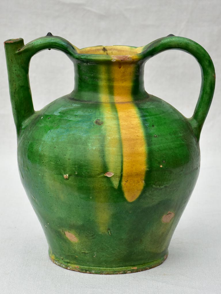 Superb 19th Century French water cruche with green and yellow glaze 11½""