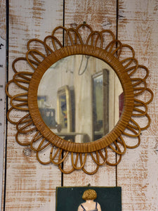 Vintage French sunburst mirror with wicker frame