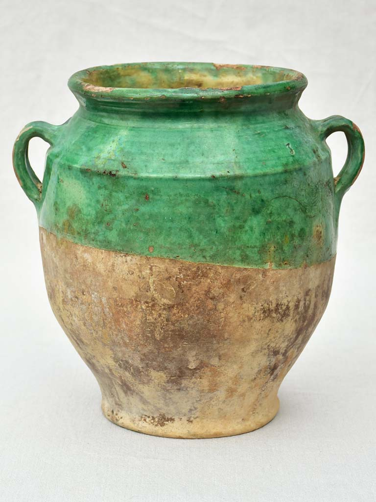 19th Century French confit pot with green glaze 11½""