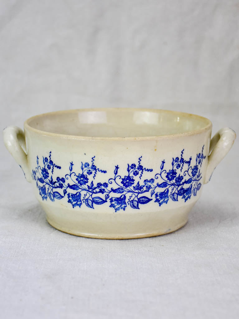 Small antique Saint Uze soup tureen with blue flowers