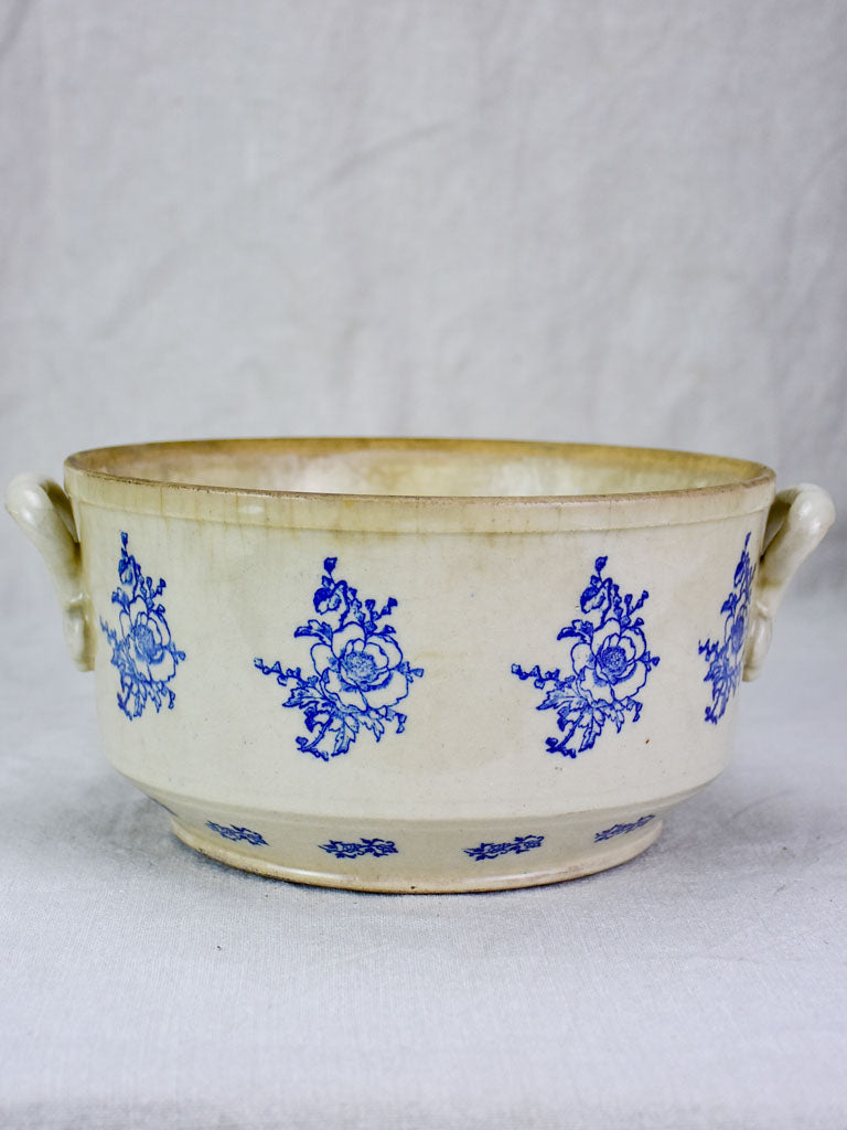 Antique Saint-Uze soup tureen with blue roses