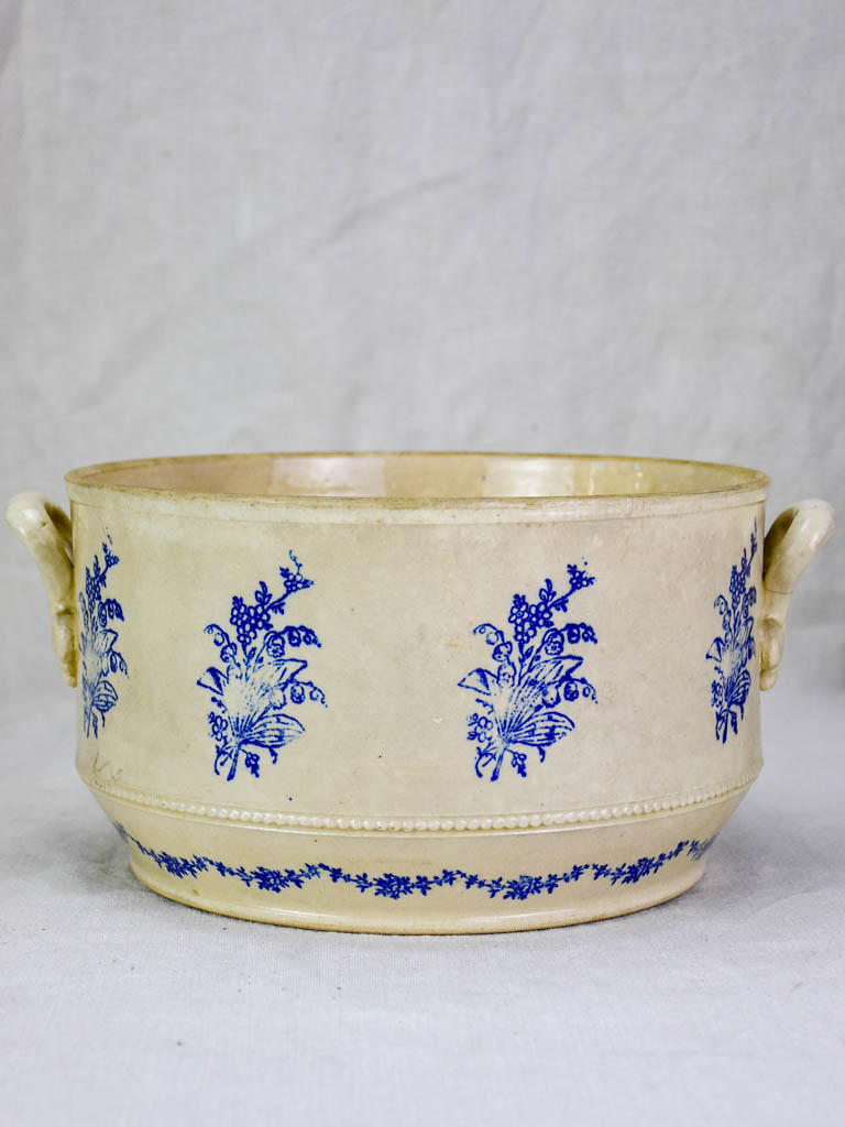 Antique Saint-Uze soup tureen with blue flowers