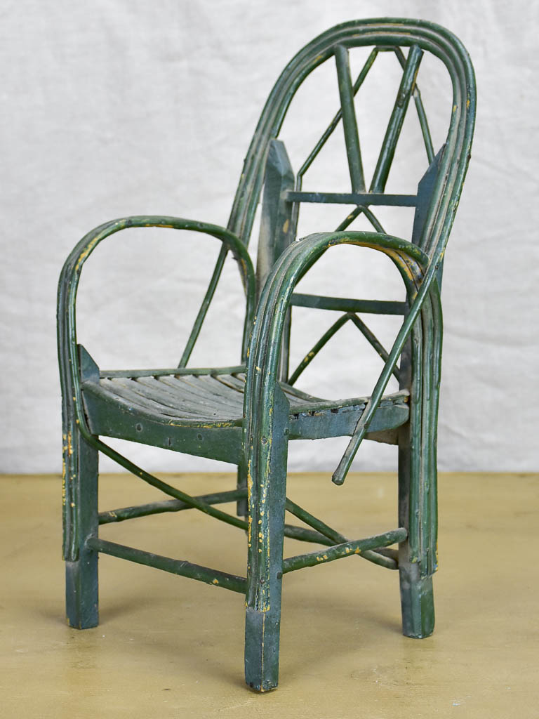 Antique French doll's armchair - green wicker