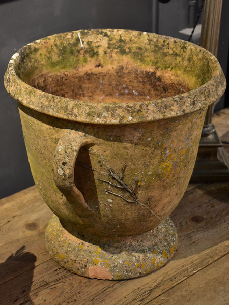 Vintage French terracotta garden planter with two handles