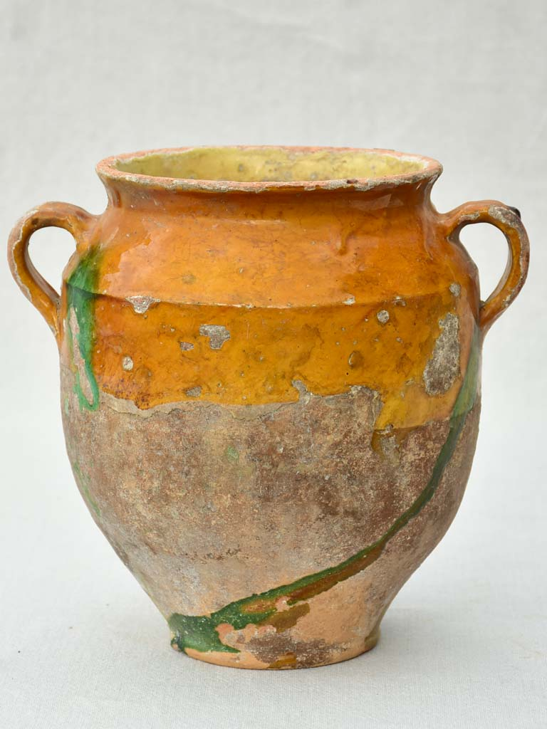 Antique French confit pot with orange glaze and green drips 9½""