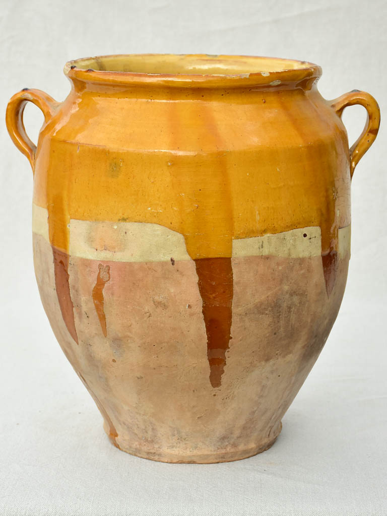 Very large antique French confit pot with yellow / orange glaze 14½""