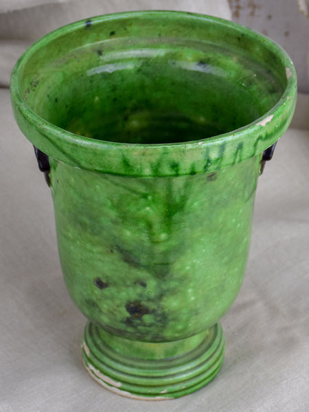 Vintage French vase from Dieulefit with green glaze