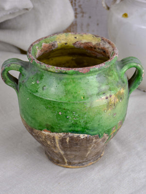 19th Century French confit pot with green glaze