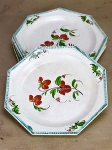 Five Creil-Montereau faience hand painted plates