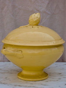Antique French soup tureen with pinecone lid - yellow ware
