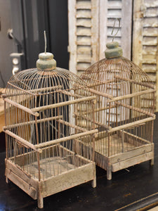 Pair of rustic antique French birdcages